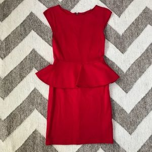 Alice & Olivia Victoria Peplum Red Dress